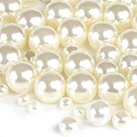Naler 500 x Glasperlen Weiß Kunstperle Runde Perlen für Schmuck Basteln(φ4, 6, 8, 10 mm)