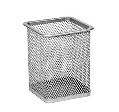 Wdoit - portapenne in metallo a rete con base quadrata, da scrivania, ufficio, scuola, articolo di cancelleria, metallo, silver, S