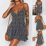 wave166 Vestido,Vestidos Mujer Casual,Mujeres Vacaciones Rayas Damas Verano Playa Botones Vestido de Fiesta