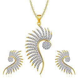 YouBella Jewellery American Diamond Gold Plated Pendant Set with Chain and Earrings for Girls and Women