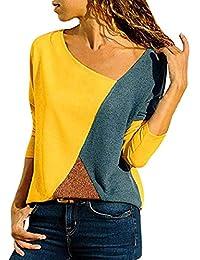 6217355b0 heekpek Costura Color De Contraste Cuello Redondo Manga Larga Camiseta Mujer  Top Mujer Camisas Mujer Verano