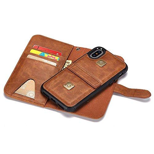 Für iPhone X Brieftasche Hülle, Kobwa Abnehmbare Magnetische Hülle Lederhülle mit Handgelenkband, Kartenfach & Standfunktion Für Apple iPhone X / iPhone 10 Braun
