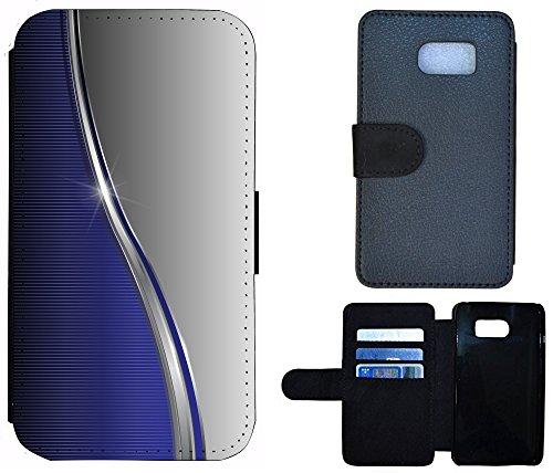 Flip Cover Schutz Hülle Handy Tasche Etui Case für (Apple iPhone 6 / 6s, 1170 Fussball Fußball Schwarz Gelb Feuer) 1164 Abstract Blau Grau Silber