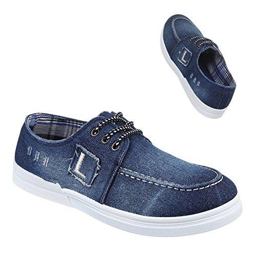 Herren Schuhe, 88-283, HALBSCHUHE FREIZEITSCHUHE USED OPTIK Blau
