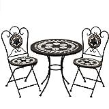 Deuba Mosaiksitzgarnitur ORIENTAL 2x Stuhl + 1 Tisch Sitzgruppe Mosaiktisch Mosaikstuhl Gartentisch