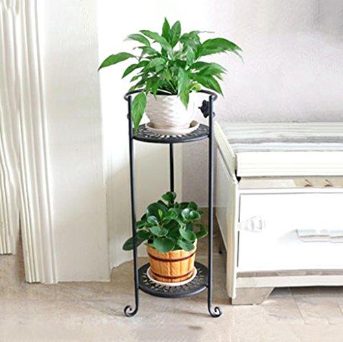 CCJW Europäischen Stil 2 Schichten Eisen Kunst Standrahmen/Balkon Indoor Wohnzimmer Blumenregale (Farbe : Schokoladen-Farben)