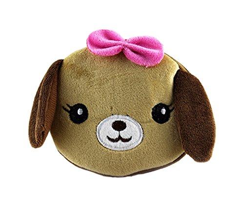 Flauschiger Kindergeldbeutel/Kinderportemonnaie (Geldbörse) mit niedlichem Tiermotiv (Kätzchen, Hase, Panda.) inkl. Schleifchen (Reissverschluss) (Hellbraun (Welpen)) -
