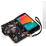 LG Nexus 5 Black Premium PU Leather Wallet Case / Cover / Pouch / Holster with Floral Interior + 2-in-1 Screen Protector Pack
