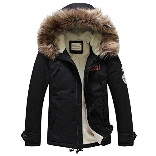 Moin Herren Parka Jacke Winterjacke Kapuze Übergangsjacke Kapuzenparka Jacket Mantel Wintermantel Mens Winter Coat Gefüttert Pelz Schwarz S - XL