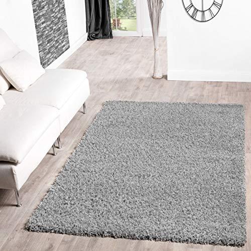 T&T Design Alfombra Shaggy De Pelo Largo para Salón A Precio Inmejorable, Größe:160x220 cm, Farbe:Grey...