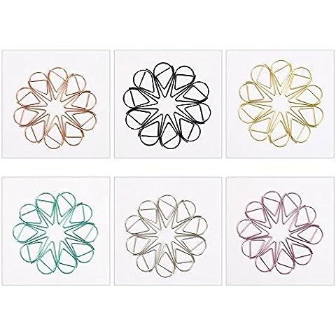 Leisial 60pcs Regalos Creativos Clips de Papel de Marcadores Multicolor Forma de Gota de Metal