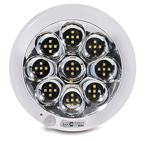 Led4U LED Plafon Deckenleuchte Deckenlampe 45 LEDs Leuchten Lampe Licht mit Bewegungsmelder Klang-Sensor Sound PIR Sensor 9W warmweiß kaltweiß (Kaltweiß)