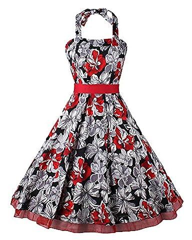 Damen Vintage Kordelzug Hohe Taillen Hepburn Stil Print Kleid Swing Cocktailkleid Rot XL