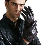 GBT Lederhandschuhe Herren Winter Touchscreen Warme Fahrt Fahren Fahren Dick Kurzer Abschnitt von dünnen Modellen,Braun,Mittel