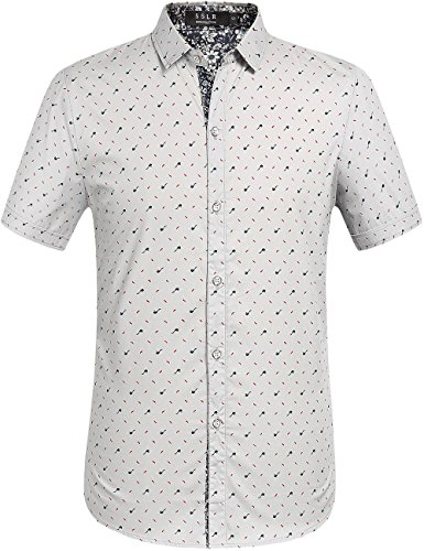 SSLR Herren Druck Regular Fit Kurzarm Button Down Hemd Grau