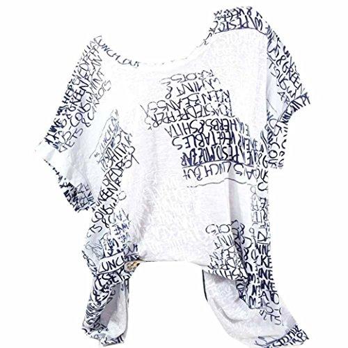 VJGOAL Damen T-Shirt, (S-5XL) Lose Tops Damen Mode Kurze Fledermaus Ärmel Bluse Casual Brief Print Pocket Sommer T-Shirts (M, Weiß)