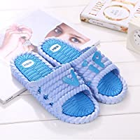 fankou Mr Home Couple Thick Female Slippers Bathroom Shower Plastic Cool Slippers Non-Slip Home Interior and Cool Drag and,40-41, Sky Blue