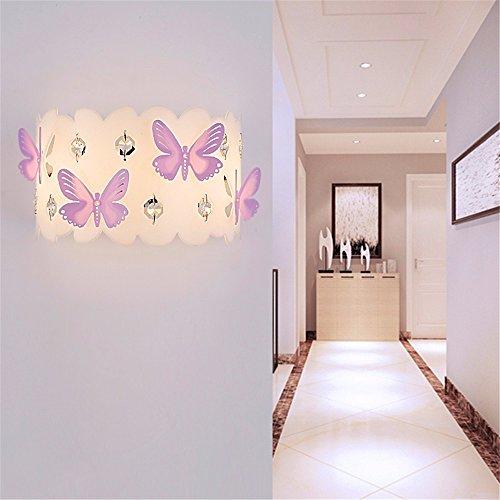 ... SADASD Led Kinderzimmer Wandleuchte Warm Einfache Und Moderne Bett  Schlafzimmer Gang Kreative Flurbeleuchtung, Lila Schmetterling ...