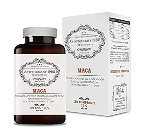 Apothecary 1982 – Maca, complément alimentaire reconstituant et aphrodisiaque, 120 comprimés, 1000 mg de Maca + 450 mg L-Arginine + Zinc et Vitamine B - 100% Produit en