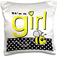 Janna Salak Designs Baby - Its a Girl - Cute Yellow Bumble Bee Black and White Polka Dots - 16x16 inch Pillow Case - Bumbles Giardino