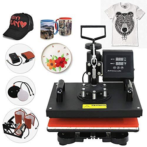 Eamqrkt 6 in 1 Digital- Wegschwenken Heiz Druck Klapp-Gehäuse Übertragung Maschine, Kappe/Hut Presse+Teller Presse+T-Shirt Heiz Druck + Tasse Presse