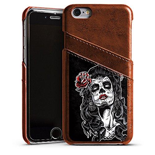 Apple iPhone 5 Housse Étui Silicone Coque Protection Zombie Catrina Halloween Étui en cuir marron