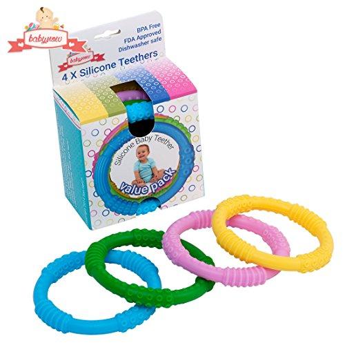 Beißring 4er-Set von Babynow | Lindert Schmerz für ein glückliches Baby | bunter Baby-Begleiter beim Zahnen | 100% BPA frei