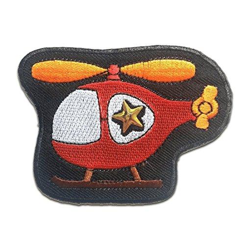 Aufnäher / Bügelbild - Helikopter Hubschrauber Kinder - rot - 8 x 6.2 cm - Patch Aufbügler Applikationen zum aufbügeln Applikation Patches Flicken