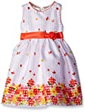 American Princess Little Girls' Toddler Shantung Dress, Coral Floral,2T