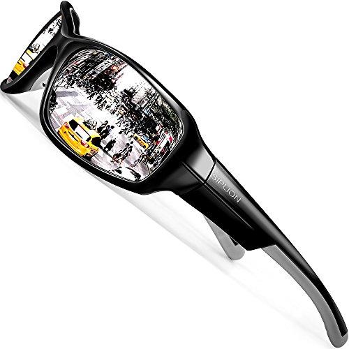 SIPLION Herren Sonnenbrille UV400 Schutz Polarisiert TR90 Superleichtes Rahmen 157 Silver