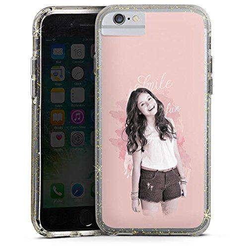 Apple iPhone 7 Bumper Hülle Bumper Case Glitzer Hülle Disney Soy Luna Serie Bumper Case Glitzer gold