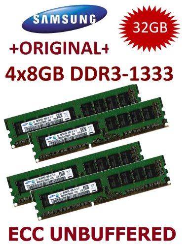 32GB Dual Channel Kit Samsung (Mihatsch & Diewald) 4 x 8GB DDR3 1333Mhz PC3-10600E 240pin ECC Dual Rank Unbuffered 1.5V CL9 with Thermal Sensor für KCMA-D8 + KCMR-D12 + KGPE-D16 + P6T WS + P6T6 WS + P6T7 WS + P7F-E + P7F-X + P7F-M + P7F-C/SAS + P7F-C/4L + P8B-M + P8B-X + P8B-C/4L + P8B-C/SAS/4L + P8B-E/4L + Z8NA-D6 + Z8NH-D12 + Z8NR-D12 + Z8PE-D12X + Z8PE-D18 + Z8PH-D12 + DELL Workstation T1600 + Poweredge C5220 + R210 II + T110 II (Poweredge-dimm-speicher)