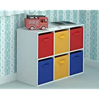 Home Source Toy Storage Unit Kids Chest of 6 Canvas Drawers for Children