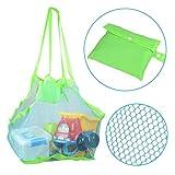 KidsHobby Strand Aufbewahrung Tasche Netz Sandspiel Netztasche für Sandspielzeug, Extra Große Familie Mesh Beach Bag Tote
