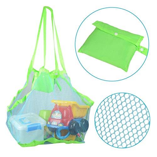 KidsHobby Bolsa de Almacenaje Organizador Juguetes de Playa, Bolsa de Playa de Malla - Herramientas para Garantizar Juguete Niños / Ropa, 45 cm x 30 cm x 45 cm, Ideal para Verano (Color Verde)