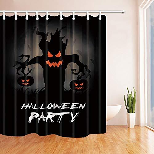 SHUHUI Halloween Duschvorhänge für Bad Horror Baum Monster verbringt Zwei Kürbisse Bad Duschvorhang 180X180 cm