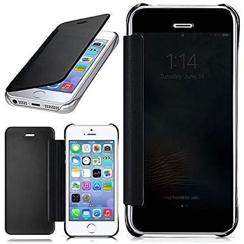 iPhone 5S Hülle Transparent TPU [OneFlow Void Cover] Dünne Schutzhülle Schwarz Handyhülle für iPhone 5/5S/SE Case Ultra-Slim Handy-Tasche mit Sicht-Fenster