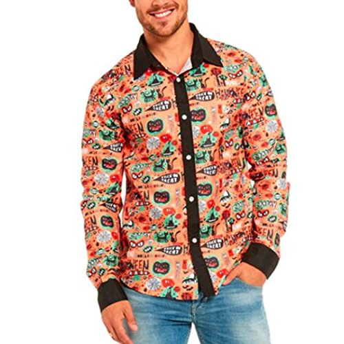 WOCACHI Herren Tops Mode Männer Halloween nette Kürbis gedruckte beiläufige stilvolle Slim Fit Langarm Casual Formal Blusen Shirts Tops Langarmshirts Mehrfarbig (Asian:M, (Halloween Cut Kürbis Muster Out)