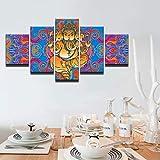 ZhuHZ Moderne Rahmen Druck modulare günstige Bild 5 Platte Elefanten Gott wandkunst für Wohnzimmer Dekoration Kunst leinwand drucken