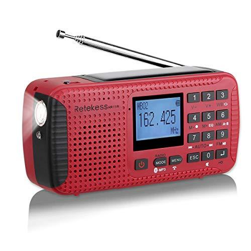 Retekess HR11W Tragbares Radio FM AM Kurbel Radio Notfall Solar Dynamo MP3 Player Recorder Taschenlampe SOS Camping(Rot)