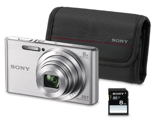 "Sony DSC-W830 - Cámara compacta de 20.1 Mp (pantalla de 2.7"", zoom óptico 8x, estabilizador óptico), plata - Kit cámara + Funda + SD 8 GB"