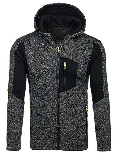 BOLF Herren Kapuzenpullover Sweatjacke Sweatshirt Hoodie Pullover Mix 1A1 Pulli Schwarz_AK48