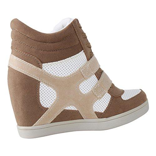 Sportliche Damen Basic Sneaker-Wedges Bequeme Sneakers Jennika Hellbraun
