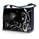 Luxburg design sac en bandoulière sacoche sac collège daily bag 17,3 pouces, motif: Ornament de plantes papillon noir et blanc