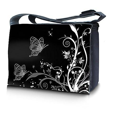 Luxburg® design sac en bandoulière sacoche sac collège daily bag 15,6 pouces, motif: Ornament de plantes papillon noir et blanc