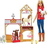 Barbie Métiers coffret Vétérinaire à la ferme avec poupée blonde, 7animaux et...