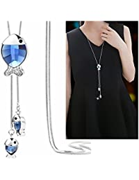 Shining Diva Fashion Jewelry Pendants for Girls with Long Chain Pendent Party Western Wear Stylish Necklace for Women & Girls(Blue)(9271np)
