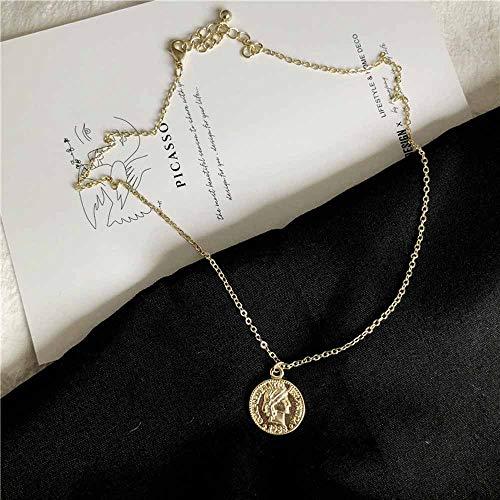 Jovono Vintage Gold Münze Anhänger Halsketten Mode Halskette Kette Schmuck für Frauen und Mädchen (Gold) - Gold Münze