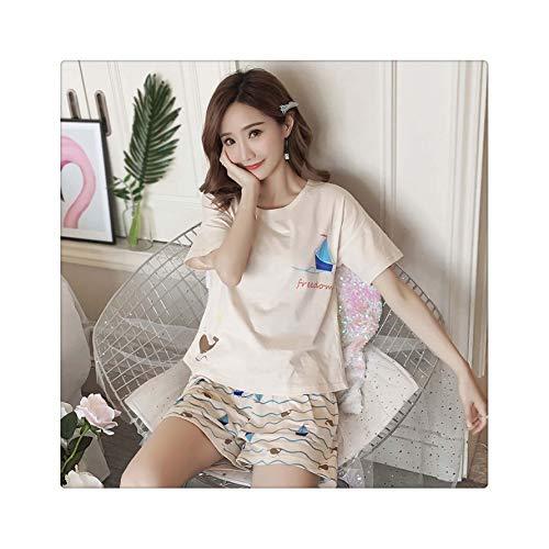 Pyjamas Women Shirts and Shorts Two Piece Pajamas Sets 100% Brushed Cotton Women Sleepwear Pijamas Mujer Duan fanchuantun mis M ()