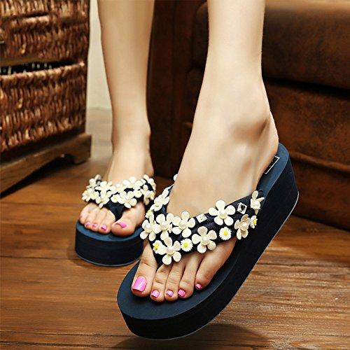 Estate Sandali 5.5 cm pistoni di estate della spiaggia di modo sandali / ciabatte femminili antiscivolo spessore pistoni inferiori (nero / marrone / blu scuro / blu-chiaro / rosa / bianco) Colore / fo Il blu scuro.